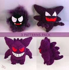 $8.00 PDF CROCHET PATTERN pack (Ghost type) Gengar, Haunter and Gastly Inspired Amigurumis