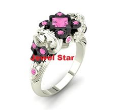 Most Selling Pink Diamond 925 Sterling Silver Skull Engagement Wedding Ring Bend #JewelStar #Masonic