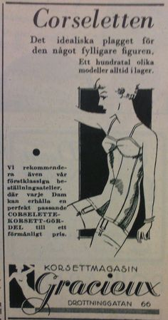 "Corselets for larger women. Gracieux corset shop in Stockholm. Swedish women's magazine ""Husmodern"" 1934"