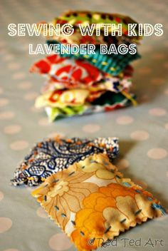 teach kids sewing - with these easy lavender bags. A great way to learn how to do the running stitch, learn to sew and make a little gift. If you have lavender growing near you, make these today!