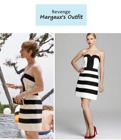 "On the blog: Margaux's (Karine Vanasse) black and white striped strapless cocktail dress | Revenge - ""Confession"" (Ep. 303) #tvstyle #falltv #outfits #fashion #tvfashion #revengers"