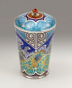 "silver and enamelled ""Floating Material"" Beaker by Phil Barnes"