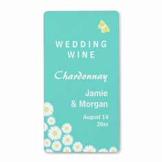 Butterfly Daisies Wedding Wine Label Turquiose