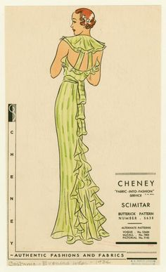 [Back view of green evening dress.] Cheney Brothers; 1934; Mid-Manhattan Library / Picture Collection: NYPL Digital Gallery