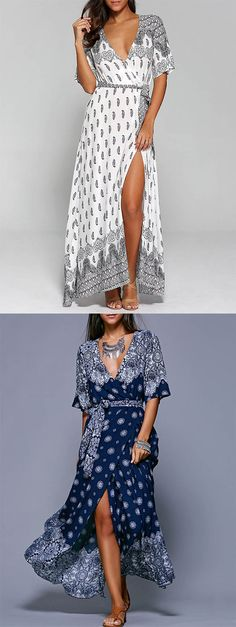 Surplice High Slit Paisley Maxi Dress