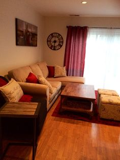 Tan, Red And Black Living Room Part 16