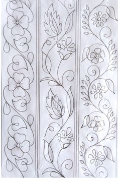 Hand Embroidery Pattern, Hand Drawing Design, Nakshi Katha Design Kantar Design, Hand Drawing D. Hand Embroidery Patterns Flowers, Border Embroidery Designs, Hand Embroidery Videos, Hand Work Embroidery, Hand Embroidery Stitches, Crewel Embroidery, Vintage Embroidery, Quilting Designs, Machine Embroidery