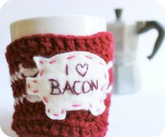 Bacon Coffee Mug Cozy Tea Cup red white crochet cover