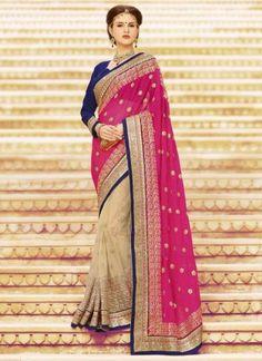 Marvelous magenta beige net chiffon embroidery booti work wedding sarees