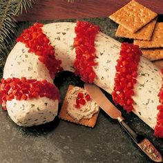 Candy Cane Cheese Ball ~ 2 packages (8 ounces each) cream cheese- softened, 1/4 cup, (1/2 stick) butter, softened, 2 tablespoons Chives, 2 tablespoons Parsley Flakes, 1 teaspoon California Style Garlic Pepper with Red Bell and Black Pepper, 1/2 teaspoon Dill Weed, 1/4 teaspoon Thyme Leaves 1/2, red bell pepper, chopped (about 1/2 cup)