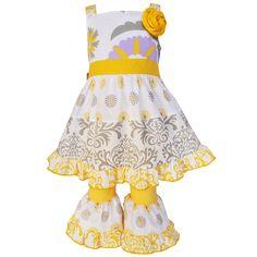 Ann Loren AnnLoren Girls' and Damask Dress and Yellow Capri Pants Set
