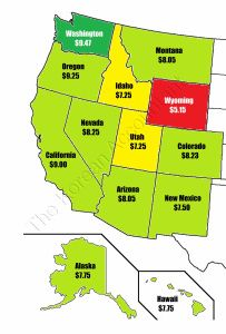 2015 Minimum wage by states on the west coast. Interestingly, Oregon has a higher rate, $9.25, than California, $9.00.