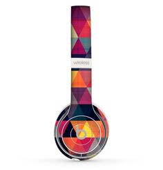 The Vector Triangular Coral & Purple Pattern Skin Set for the Beats by Dre Solo 2 Wireless Headphones