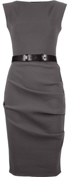 Charcoal Grey Sheath Dress. A simple dress in a dark neutral shade is a must have for any work or presentation wardrobe. Youll look sophisticated and authoritative in this dress, especially with a simple accessory like the black belt. For traditional presentations or meetings, layer a basic black blazer to look even more professional.