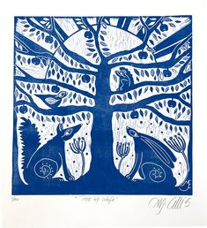 a square linocut print in blue and white with the tree of life and the wild animals around it, the hare and the fox sit in peace in the sunrise. a linocut, an original print by printmaker Mariann Johansen-Ellis Bird Skull Tattoo, Linocut Prints, Art Prints, Original Art, Original Paintings, Tree Paintings, Tattoo Illustration, Bird Tree, Prints For Sale