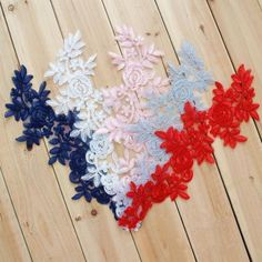 1 Pair blue/Red/ivory/black/pink/gray Flower Lace Appliques,Embroidered Flowers,Patches For Wedding Supplies,Bridal Hair Bridal Hair Flowers, Flower Headpiece, Bridal Lace, Wedding Lace, Wedding Veil, Wedding Dresses, Embroidery Applique, Floral Embroidery, French Knot Embroidery