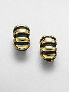 Kenneth Jay Lane - Ribbed Shrimp Clip-On Earrings/Black
