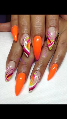 Long orange and pink design nails