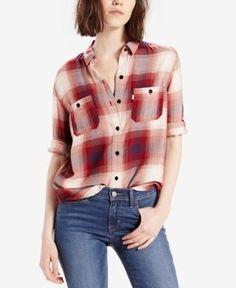 Levi's Plaid Workwear Boyfriend Shirt - Caraway Birch XL