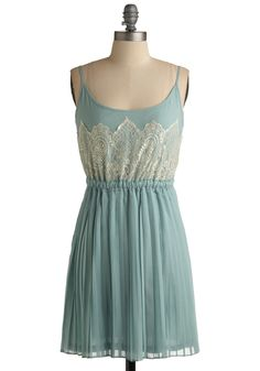 Frost and Foremost Dress - Green, Tan / Cream, Lace, A-line, Spaghetti Straps, Solid, Pleats, Wedding, Party, Summer, Short