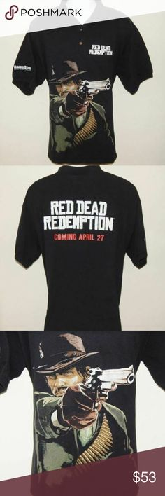 """Red Dead Redemption Mens XL Gamestop Polo Shirt THE ITEM:  Red Dead Redemption Mens Size XL Gamestop Exclusive April 2010 Release Shirt. Gildan brand. Amazing black polo style shirt with huge full color graphic of shooting man with large spell-out on back and front with Gamestop logo on sleeve. A very rare exclusive shirt. Cotton/Polyester blend. Very good condition with no holes, tears, or stains. From smoke-free and pet-free home.  Measurements:  1. Shoulder to Shoulder: 23"""" 2. Chest/Pit to Pit: 23"""" 3. Length: 28"""" Gildan Shirts"""