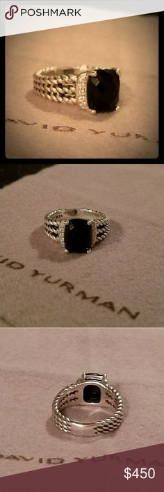DAVID YURMAN Black Onyx Petite Wheaton Ring This Onyx petite Wheaton ring is gorgeous! Diamonds up and down both sides of a beautiful black onyx. I'm sorry my lighting is so bad I'm taking these pictures with my cell phone. Just bought it and I think I would like the large Wheaton better so I know I'll never be able to get out of it what I paid, this is the best I can do on Posh but offers will be taken, shoot me your best one and we'll see what we can work out! Comes with David Yurman…