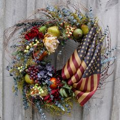 Americana Wreath, Patriotic, Williamsburg, Fourth of July, Floral Wreath, Fruit, Tea Stained Flag.