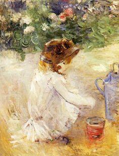 Jouer dans le sable, huile sur toile de Berthe Morisot (1841-1895, France)
