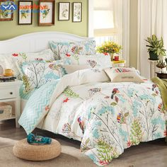 Duvet cover set (without comforter) pastoral Bird printing bedding sets queen size 100% Cotton fabric sheets ,fast shipping