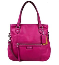 Made of soft magenta leather and polished silver hardware