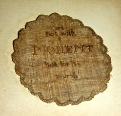 "Little House Needleworks-This ""watch sampler"" was stitched by Mary Bowden in the early 1800s.  Stitched with her hair, it was then placed in the case of the pocket watch of husband/father.  It reads ""Part not with a MOMENT but for its worth""."