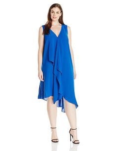 Adrianna Papell Women's Plus-Size Asymmetrical-Front Tunic Dress >>> New and awesome product awaits you, Read it now  : Plus size evening gowns