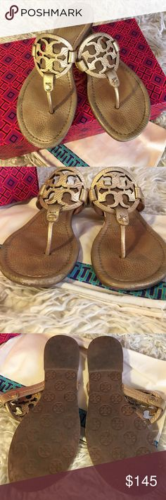 TORY BURCH Gold Miller Sandals Size 8 Tory Burch Tumbled Metallic Leather in Gold 710. Miller style 50008679. Good Condition, normal wear and tear. Size 8. Includes original box and dust bag. Tory Burch Shoes Sandals