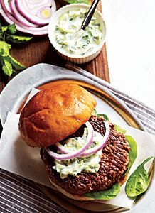 Healthy Lamb Burgers with Cilantro Raita! Great meal that your friends will be impressed with! | my recipe