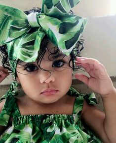 Gorgeous in green gorgeouslittlegirl Cute Little Girls Outfits, Cute Little Baby, Cute Baby Girl, Pretty Baby, Little Babies, Baby Love, Kids Outfits, Cute Kids Fashion, Baby Girl Fashion