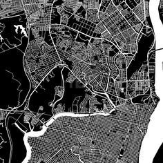 Guayaquil, Ecuador, downtown vector map.  Art print pattern. White streets, railways and water on black. Bigger bridges with outlines. This map will s... ... #map #downloadable #background #vector #design