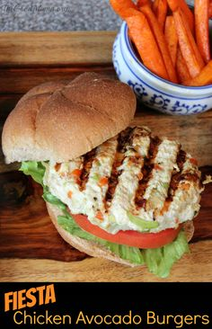 Fiesta Chicken Avocado Burger Recipe- Healthy, easy to make and SO tasty!