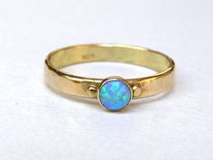 Handmade engagement ring Blue Opal Ring - 14k gold ring- Made to order- Gift for christmas