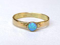 14 K Solid Gold Ring, Opal verlovingsring, alternatief verlovingsring, Blue opal Ring, trouwring, unieke verlovingsring, Promise Ringen