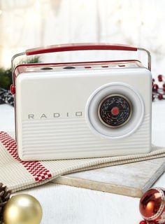 Photo 2 of Retro 1960's Radio Biscuit Tin Cream and Red