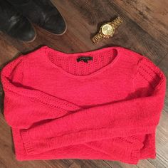 Rachel Zoe Sweater Rachel Zoe coral sweater.  73% cotton, 27% poly.  Great condition. Rachel Zoe Sweaters Crew & Scoop Necks