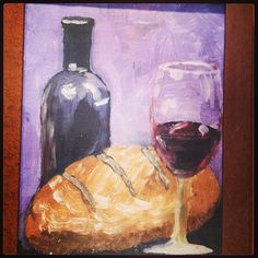 Painting - bread and wine.