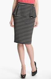 Bobeau Peplum Stripe Skirt