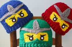 Crochet Patterns Beanie Fun Ninja Hat Silver Trim by MaryOriginals on Etsy Crochet Lego, Crochet Kids Hats, Crochet For Boys, Crochet Beanie, Crochet Crafts, Knitted Hats, Crochet Children, Yarn Projects, Crochet Projects