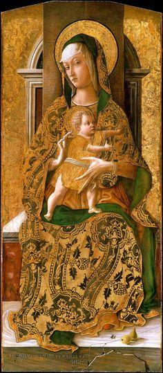 Carlo Crivelli (1430/35-1495), Madonna in trono col Bambino, 1471. Bruxelles, Musées Royaux des Beaux-Arts de Belgique.