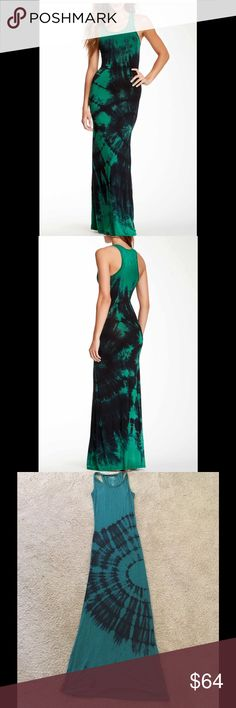 NWOT Go Couture Maxi Dress Scoop neck, sleeveless, racerback, allover tie-die print. Made in USA. 90% modal, 10% spandex. Machine wash. Color is more green-blue, not full green. Black is blended in. Go Couture Dresses Maxi