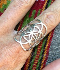 Sterling Silver Seed of Life Ring, Sacred G Geometry Full Power Jewelry