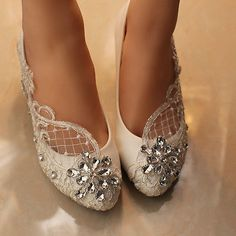 Lace Bridal shoes crystal Wedding shoes prom Flats low high heel pumps size 5-10 - EXCLUSIVE DEAL! BUY NOW ONLY $29.99