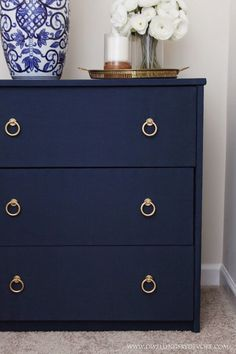 DIY Fabric Covered Nightstand #navy #blue