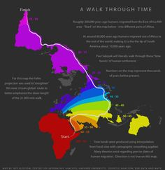 Map Info & Chart : Out of Eden - Path of human migrations. Out of Eden - Path of human migrations. By PorekiJones At infographic. Out Of Eden, Human Geography, Human Evolution, Out Of Africa, East Africa, Historical Maps, World History, Science And Nature, Ancient History